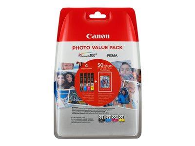 Canon CLI-551 C/M/Y/BK + 50x PP-201