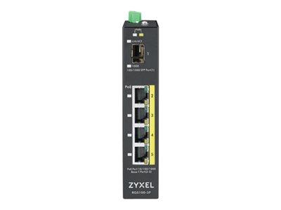 Zyxel RGS100-5P, 5-port Gigabit switch: 4x GbE + 1x SFP, PoE (802.3at, 30W), Power budget 120W, DIN rail/Wall mount, IP3