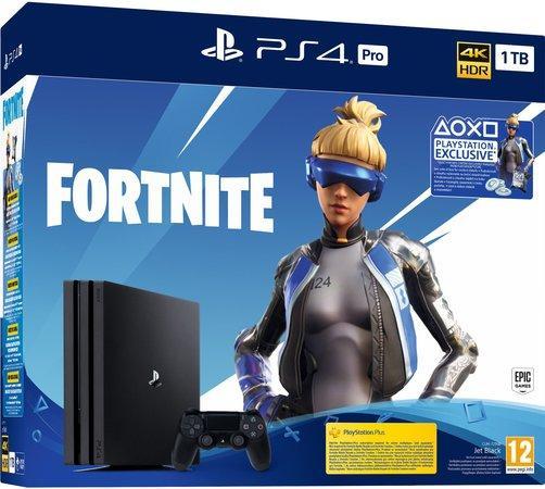 Herní konzole Sony PlayStation 4 Pro + Fortnite balíček 2000 V Bucks - černá