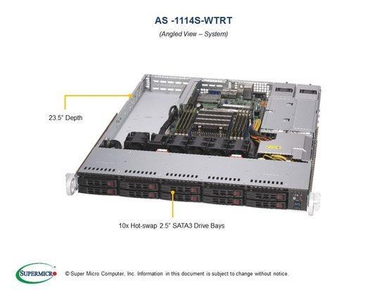 "SUPERMICRO A+ Server 1U 1x SP3, 8x DDR4, 10x 2,5"" (2xNVMe opt.), 2x500W(plat), 2x10GbE, IPMI, AS -1114S-WTRT"
