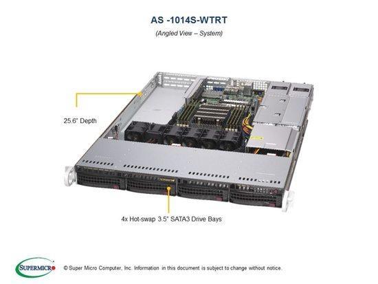 "SUPERMICRO A+ Server 1U 1x SP3, 8x DDR4, 4x 3,5"" (4xNVMe opt.), 2x500W(plat), 2x10GbE, IPMI, AS -1014S-WTRT"