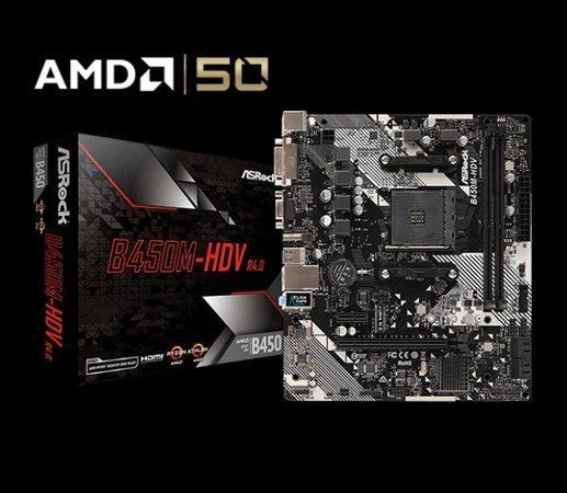 ASRock B450M-HDV R4.0 / AM4 / 2x DDR4 DIMM / HDMI / DVI-D / D-Sub / M.2 / mATX, B450M-HDV R4.0