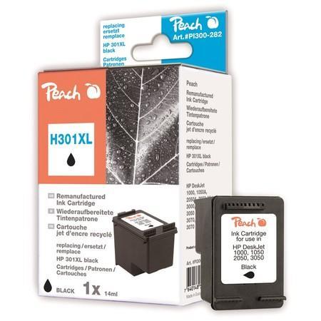 Inkoustová náplň Peach HP No. 301 XL kompatibilní - černá,
