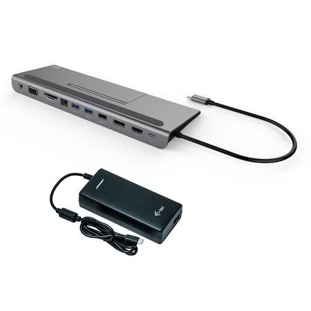 i-tec USB-C Metal Low Profile 4K Triple LCD Docking Station + i-tec Universal Charger 112W, C31FLATPLUS112W