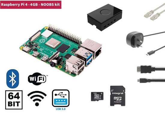 Raspberry Pi 4, 4GB Starter Kit, WiFi, Bluetooth + NOOBS software, RP4KIT4GB