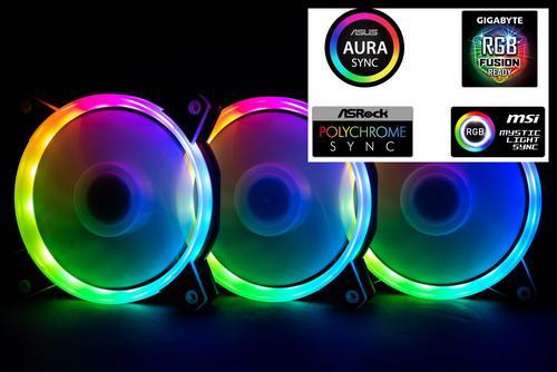1stCOOL Fan KIT AURA RAINBOW, 3x ARGB LED ventilátor 120x25mm+ řadič+ dálkové ovládání (sada do case)