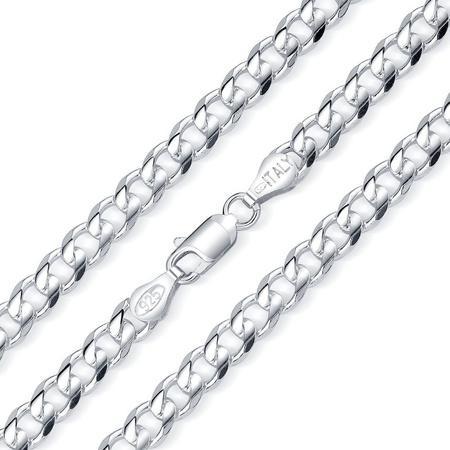 Stříbrný náhrdelník řětěz CURB Pancr 6 mm - rhodiovaný-55 cm, 55