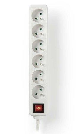 NEDIS napájecí prodlužovací zásuvka/ úhlový/ 6x zásuvka/ vypínač/ bílá/ 3m