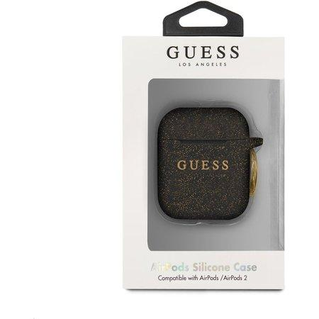 GUACCSILGLBK Guess Silikonové Pouzdro pro Airpods 1/2 Black