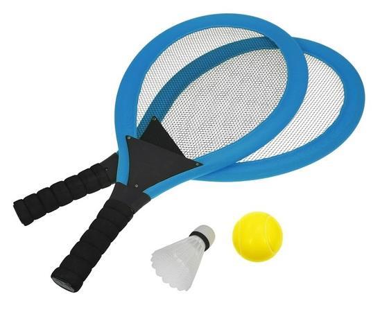 Set na plážové hry tenis/badminton 2xraketa, soft miček, badm. Košík, modrá