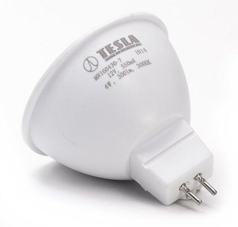 TESLA LED žárovka/ GU5,3/ MR16/ 4W/ 12V/ 300lm/ 3000K/ teplá bílá