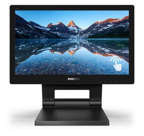 """Philips LCD 162B9T 16"""" 16:4 TN Touch/1366x768@60Hz/20M:1/4ms/220 cd/m2/VGA/DVI/HDMI/DP/2xUSB/VESA/Repro, 162B9T/00"""