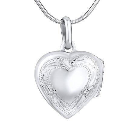 Stříbrný medailon otevirací srdce s rytím 16 mm