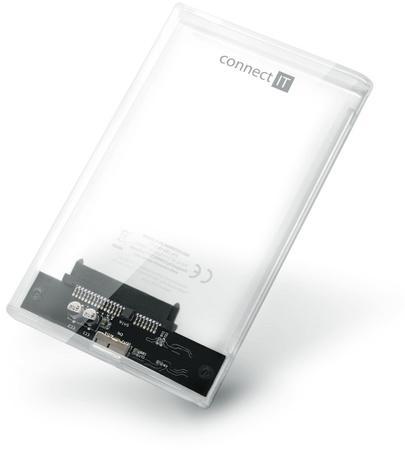 "CONNECT IT ToolFree Clear externí box pro HDD 2,5"" SATA, USB 3.0, TRANSPARENTNÍ, CEE-1300-TT"