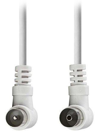 NEDIS koaxiální anténní kabel/ koaxiální zástrčka úhlová - koaxiální zásuvka úhlová/ bílý/ 5m