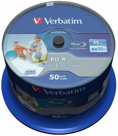VERBATIM BD-R Blu-Ray SL DataLife 25GB/ 6x/ printable/ 50pack/ spindle, 43812