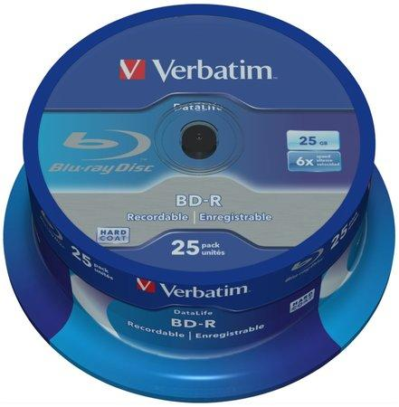Verbatim Blu-ray BD-R DataLife [ Spindle 25 | 25GB | 6x | WHITE BLUE SURFACE ], 43837