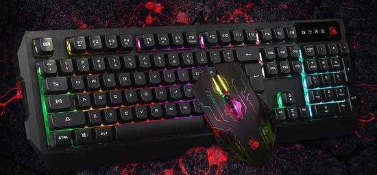A4tech Bloody Q1300 herní set podsvícené klávesnice s myší, USB, Q1300