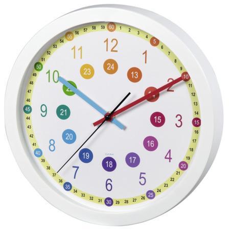 Hama Easy Learning, dětské nástěnné hodiny, průměr 30 cm, tichý chod