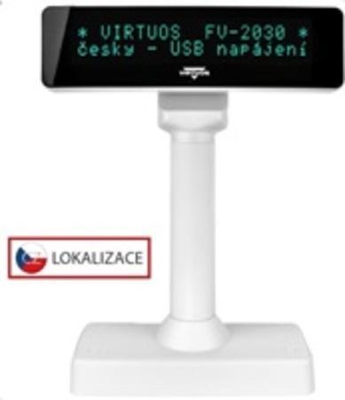 VFD zák.displej FV-2030W 2x20, 9mm,USB, bílý