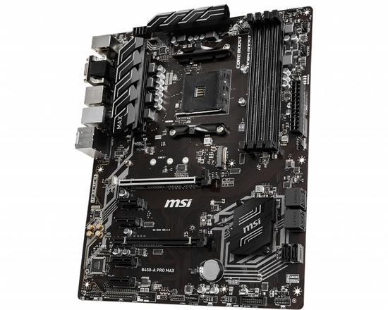 MSI B450-A PRO MAX, AM4, DDR4, 1 x M.2 slot, 6 x SATA 6Gb/s, VGA, HDMI, DVI-D, B450-A PRO MAX