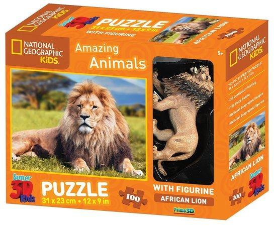 PRIME 3D Puzzle Africký lev 3D 100 dílků + figurka