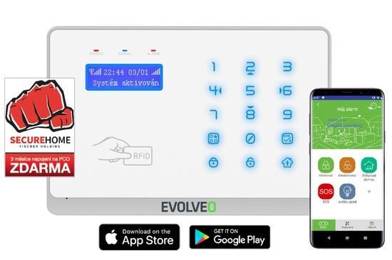 EVOLVEO Salvarix, bezdrátový WiFi&GSM alarm s čtečkou RFID