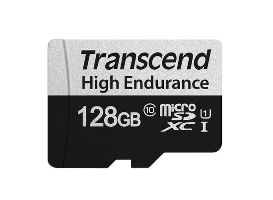 Transcend 128GB microSDXC 350V UHS-I U1 (Class 10) High Endurance paměťová karta, 95MB/s R, 45MB/s W