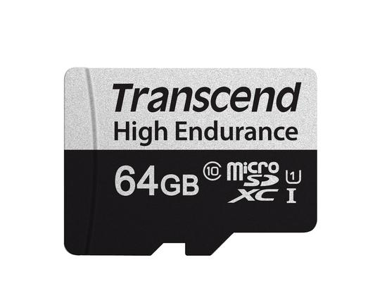 Transcend 64GB microSDXC 350V UHS-I U1 (Class 10) High Endurance paměťová karta, 95MB/s R, 45MB/s W