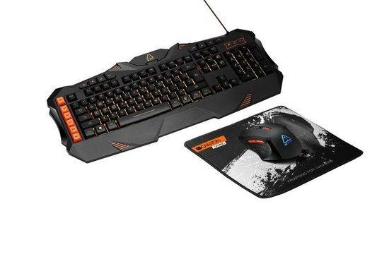 CANYON herní set LEONOF 3v1, klávesnice s podsvícením (US layout), myš s RGB logem(DPI až 3200), podložka pod myš, černá, CND-SGS01-US