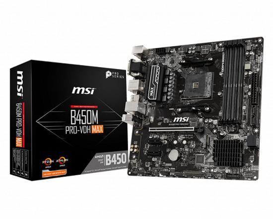 MSI B450M PRO-VDH MAX, AM4, DDR4, 1 x M.2 slot, 4 x SATA 6Gb/s, VGA, HDMI, DVI-D, B450M PRO-VDH MAX