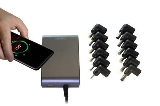 EVOLVEO Chargee C90, 90W univerzální napájecí zdroj pro notebooky s beztrátovým nabíjením, Chargee C90