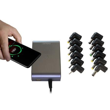 Napájecí adaptér Evolveo Chargee C90 pro notebooky 90W s bezdrátovým nabíjením,