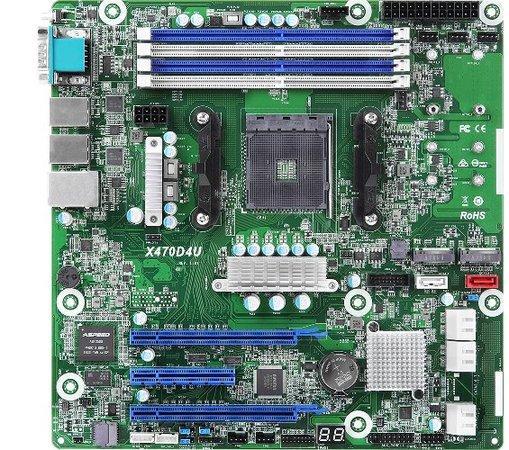 ASROCK RACK MB X470D4U server MB AMD AM4 (amd X470, 4xDDR4, 6xSATA3 +2xM.2, 2xGLAN, mATX), X470D4U