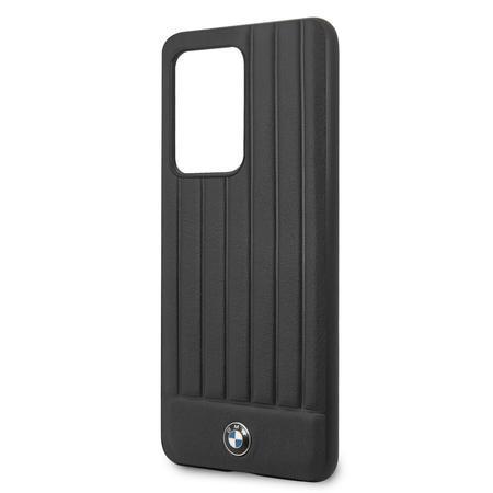 BMHCS69POCBK BMW Leather Lines Kryt pro Samsung Galaxy S20 Ultra Black