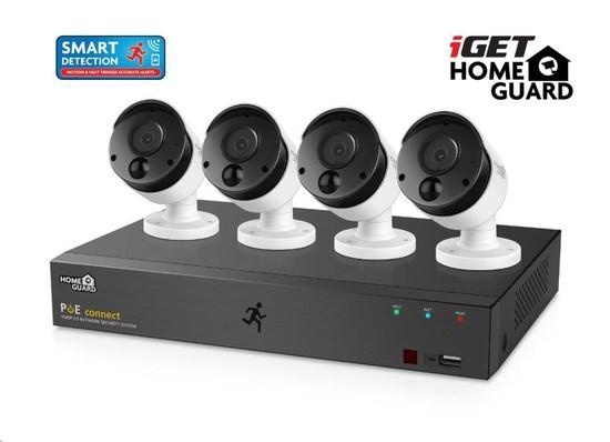 iGET HOMEGUARD HGNVK85304 Kamerový PoE systém se SMART detekcí pohybu, 8-kanálový FullHD NVR + 4x FullHD venkovní kamera, HGNVK85304