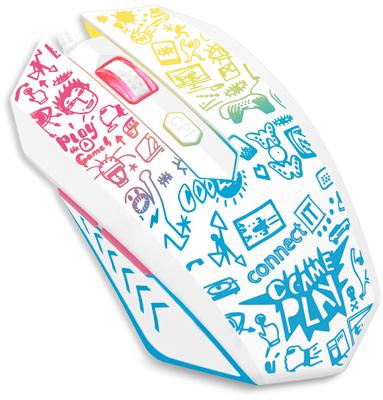CONNECT IT DOODLE WHITE Limited Edition herní myš, BÍLÁ, USB, CMO-1144-DD
