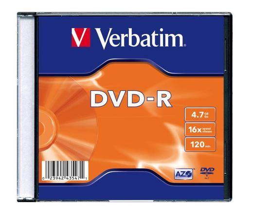DVD-R Verbatim 4,7 GB (120min) 16x Silver slim box, 20ks/pack, 43547