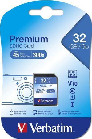 """Paměťová karta, SDHC, 32GB, C10/U1, 45/10 MB/s, VERBATIM, """"Premium"""""""