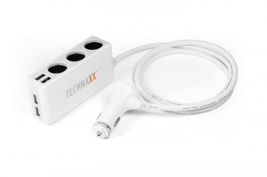 Technaxx nabíječka do auta, 4x USB port, 3x zásuvka (TE11)