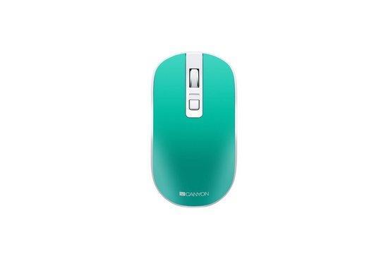 CANYON optická silent myš s bezdrátovým nabíjením, senzor Pixart, rozlišení 800/1200/1600 DPI. 4 tlačítka, modro-zelená, CNS-CMSW18A