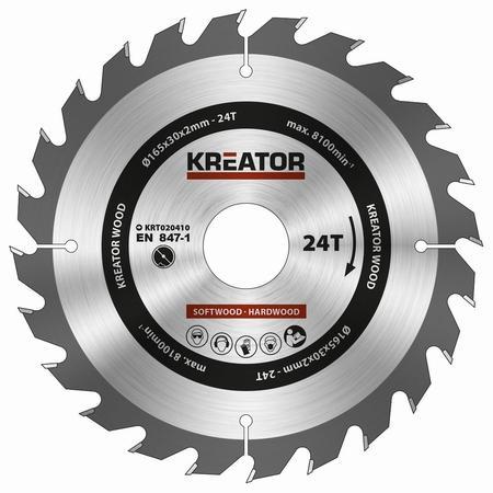Pilový kotouč Kreator KRT020410 na dřevo 165mm, 24T