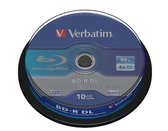 VERBATIM BD-R(10-pack)/DualLayer/spindle/6X/50GB, 43746