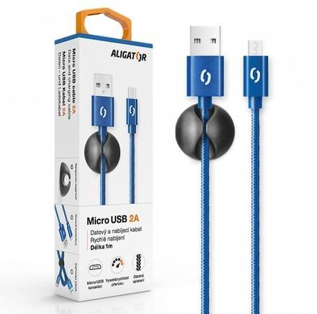 ALIGATOR PREMIUM Datový kabel 2A, Micro USB modrý
