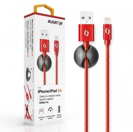 ALIGATOR PREMIUM Datový kabel 2A, Lightning červený