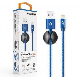 ALIGATOR PREMIUM Datový kabel 2A, Lightning modrý