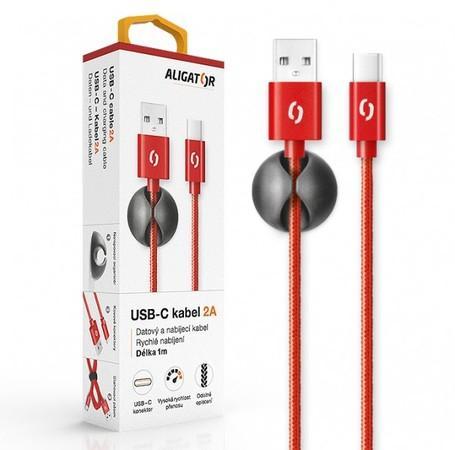 ALIGATOR PREMIUM Datový kabel 2A, USB-C červená