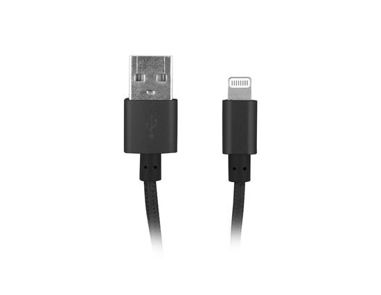 Natec certifikovaný MFI kabel Lightning pro Iphone s textilním opletením 1,5m černý, Z29200