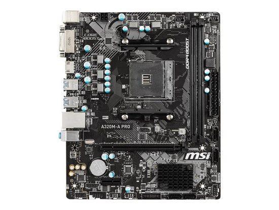 MSI A320M-A PRO, AM4, 2x DDR4, 1PCI-Ex1, 4SATA3, 6USB3.2