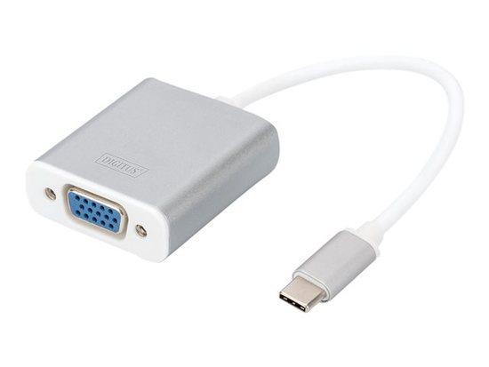 DIGITUS USB Typ C 1080p VGA Adaptér, hliníkové šasi, 20 cm kabel, Chipset: VL100+IT6513, DA-70837